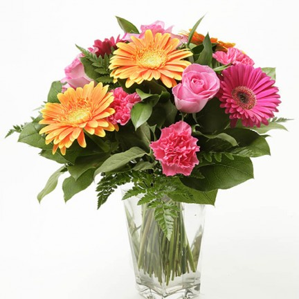 Gerberas in a square vase