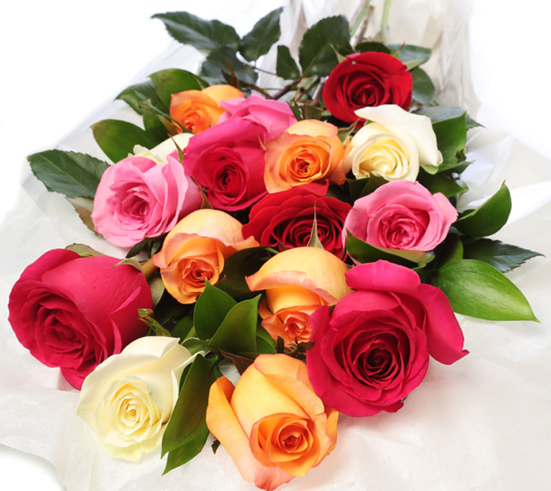 Assorted Coloured Roses Wrapped Flowers London On